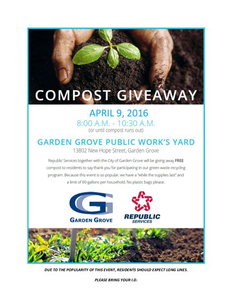 Compost Giveaway 2016 - free compost giveaway city of garden grove