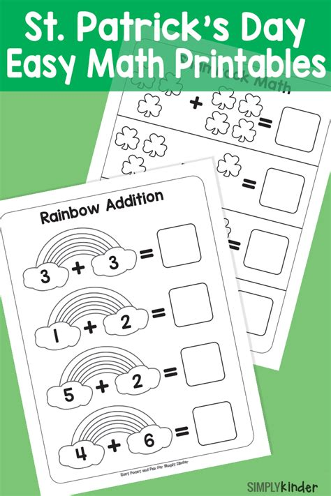 s day math simple st patricks day math printables simply kinder