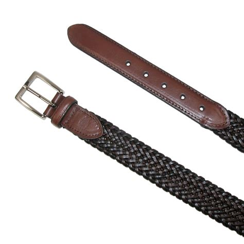 mens leather braided stretch belt by dickies casual