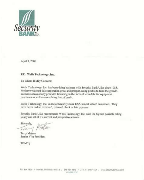 Customer Letter From Bank Technology Inc Precision Metal Machining
