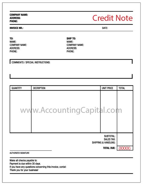 Note De Credit Template What Is A Credit Note Accountingcapital