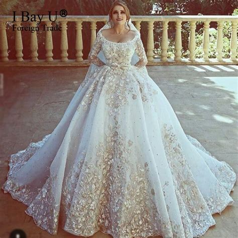 Top Customized Big Train Arab Wedding Dresses 2017 Luxury