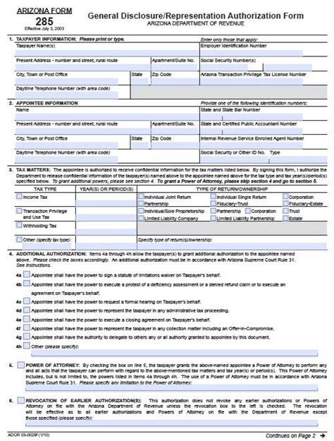 Free Tax Power Of Attorney Arizona Form 285 I Adobe Pdf Free Will Template Arizona