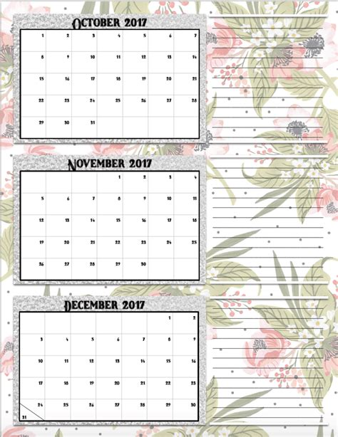 quarter calendar template free printable 2017 quarterly calendars 2 different designs
