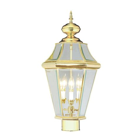 polished brass outdoor post lights livex lighting providence 3 light outdoor polished brass