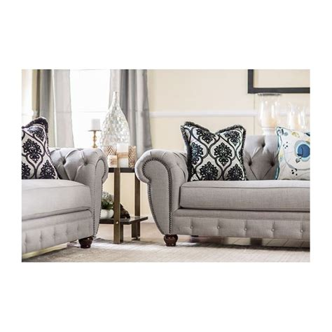 victorian modern furniture sm2291 furniture of america living room modern victorian style gray fabric