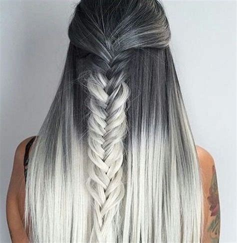 ombre half up half down hairstyles ombre braids hairstyles silver and grey with black