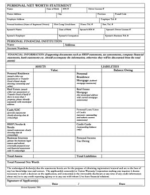 personal net worth statement forms and templates