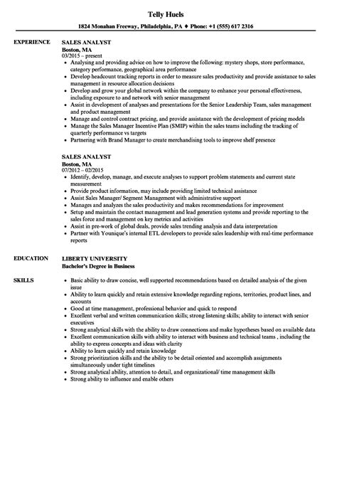 Sle Analyst Resume by Sales Analyst Resume Sles Velvet