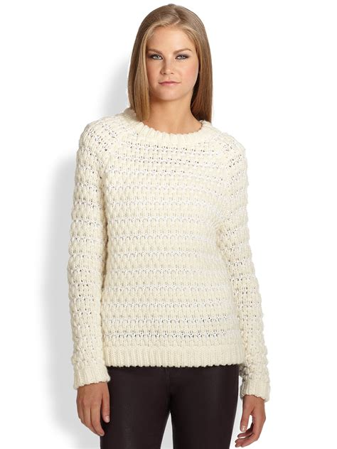 Chunky Knit Sweater tibi chunky knit sweater in beige white lyst