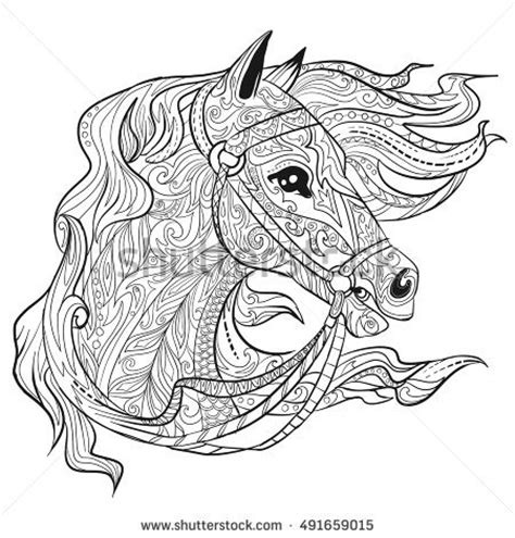 Horse Head Coloring Page Stock Images, Royalty Free Images