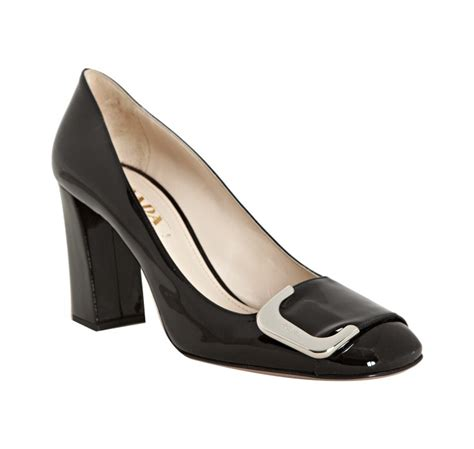 Prada Details Another Heel by Prada Black Patent Leather Silver Logo Buckle Detail Block