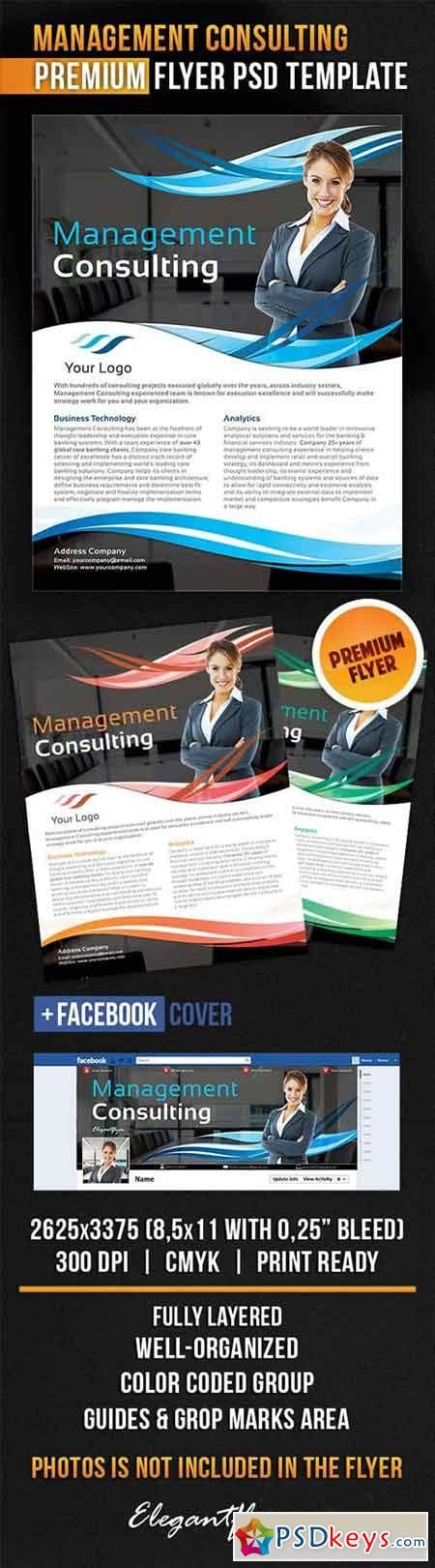 management consulting flyer psd template facebook cover