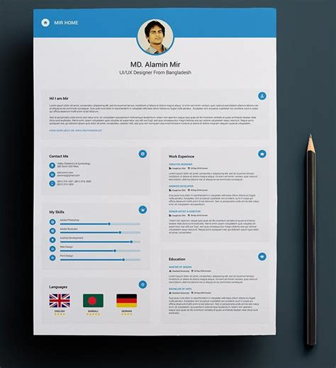 Resume And Cover Letter Psd Template Free Resume With Business Card Mockup Psd Titanui