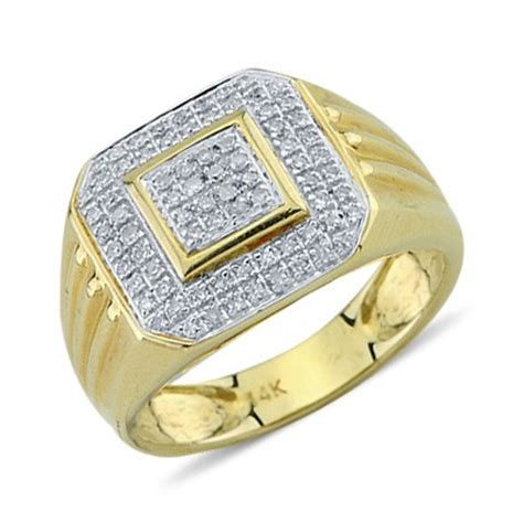 solid 14k yellow gold cut pave set mens ring