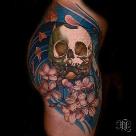 cherry skull tattoo designs coloured skull and cherry blossoms on shoulder