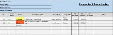rfi log template free construction project management templates in excel