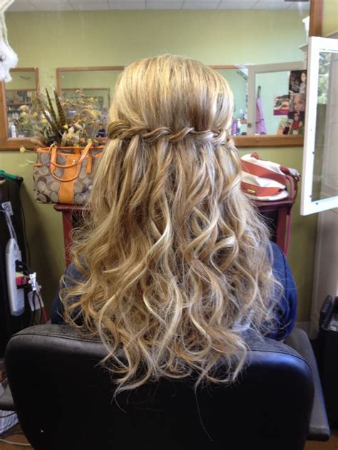 waterfall braid half up half with curls