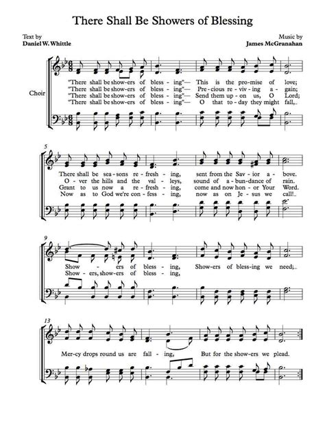 There Shall Be Showers Of Blessing Keyboard Chords by Free Choir Sheet There Shall Be Showers Of Blessing