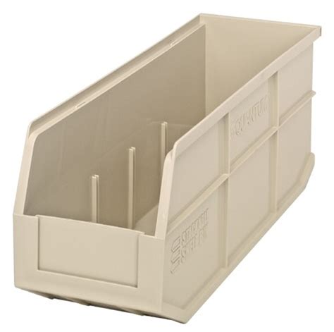 plastic stackable shelf storage bin ssb461 18 quot x 6 quot x