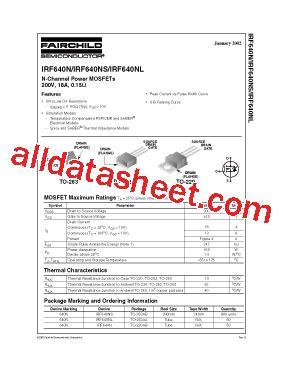 Irf 640n Mosfet Irf 640 irf640n datasheet pdf fairchild semiconductor