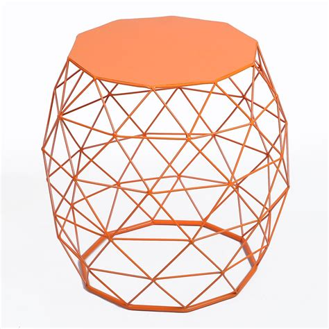Wire Stool Side Table by Joveco Triangle Pattern Metal End Table Side Table Sofa