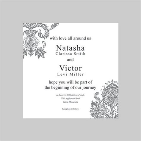 Wedding Invitation Template 5x5 Square Silver By Wedding Invitation Templates Word Document