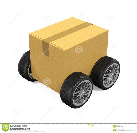 Wheels Box cardboard box on wheels stock illustration image 59807706