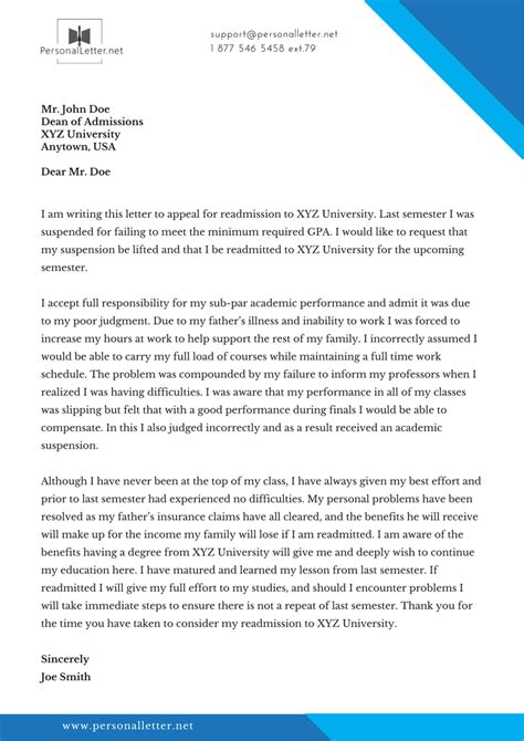 application letter for readmission in school readmission letter sle personal letter