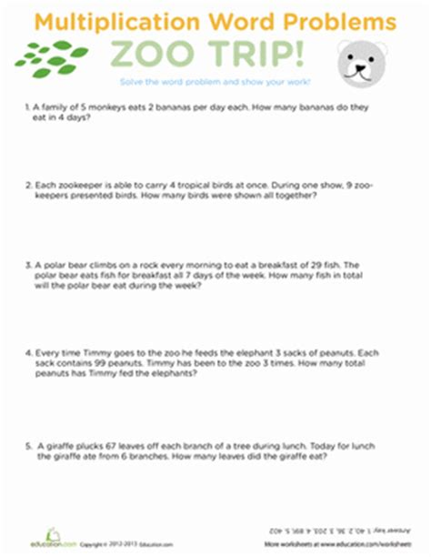Multiplication Word Problems Worksheet by Multiplication Word Problems Zoo Worksheet Education