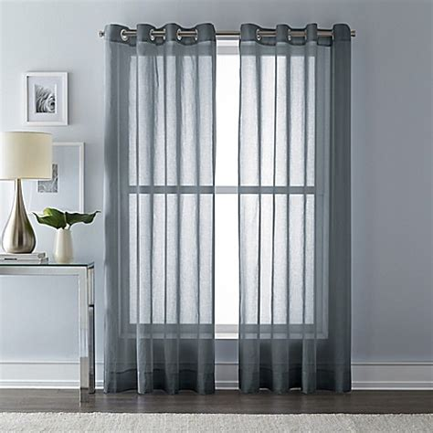 Charcoal Sheer Curtains Buy Wamsutta 63 Inch Grommet Top Sheer Window Curtain Panel In Charcoal From Bed Bath Beyond