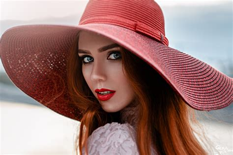 wallpaper girl with hat wallpaper face girl hat girl in a red hat