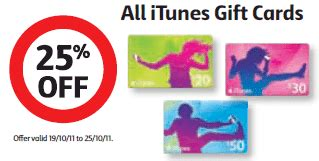 Coles Gift Cards Discount - get 25 off itunes credit at coles this week gift cards on sale