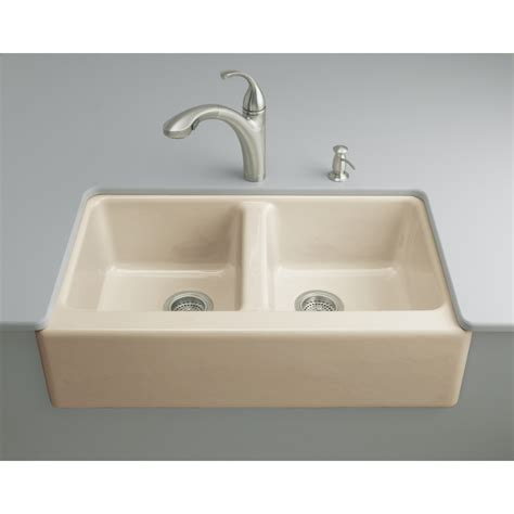 enamel kitchen sinks shop kohler hawthorne double basin undermount enameled