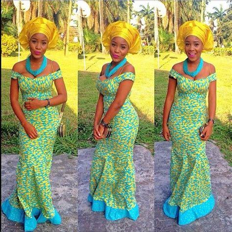 bella naija neck costumes yellow blue ankara print fabric off shoulder dress