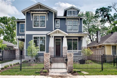 blue craftsman house columbia street front craftsman exterior houston by jnt homes