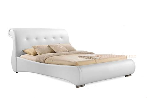White Leather Sleigh Bed Frame Black Or White King Or Faux Leather Tufted Scroll Sleigh Bed Frame Ebay