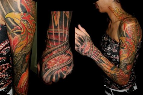 tattoo phoenix hand fantasy hand neck phoenix sleeve tattoo by javier tattoo