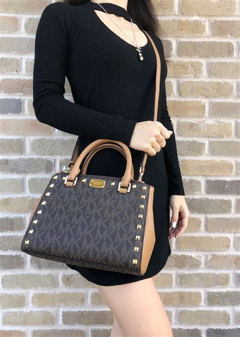 Michael Kors Backpack Xs Accorn michael kors kellen xs satchel brown acorn signature mk studded crossbody bag ebay
