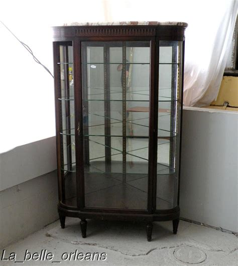 showcase images superb french empire corner showcase curved glass for sale