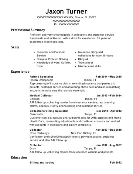Billing Specialist Resume by Best Collections Billing Specialist Resumes Resumehelp
