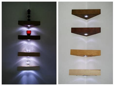 Floating Shelves With Lights by The Wide Ranges Of Ideas Of The Floating Corner Shelves