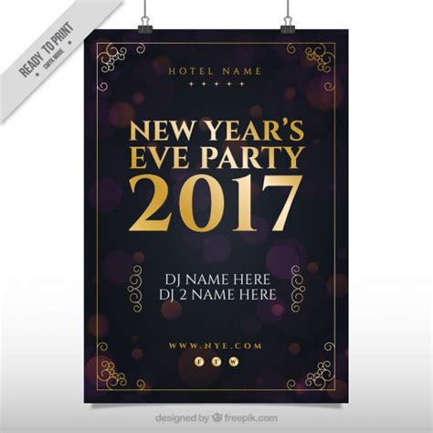 vintage new year poster vintage poster of new year 2017 vector