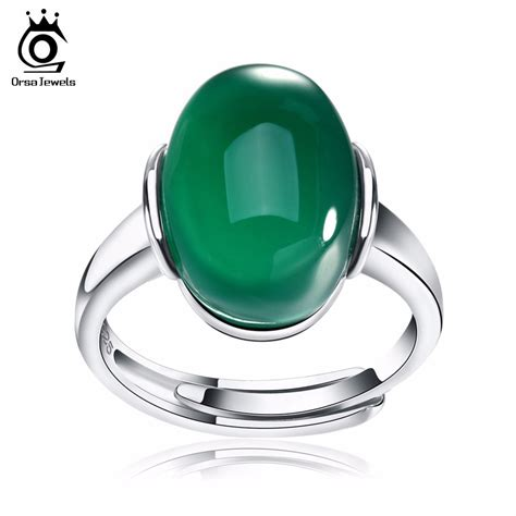 orsa jewels genuine 925 silver rings with big green