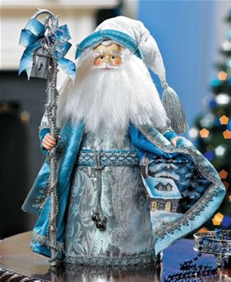 fiber optic blue robe santa tree topper blue winter