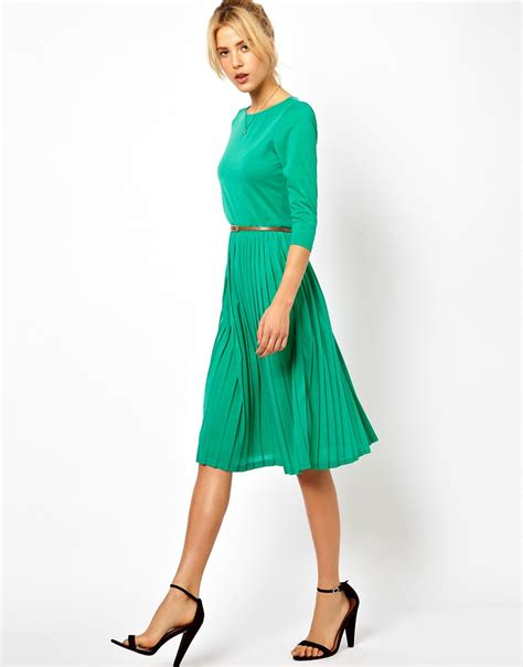 asos asos midi dress with pleated skirt at asos