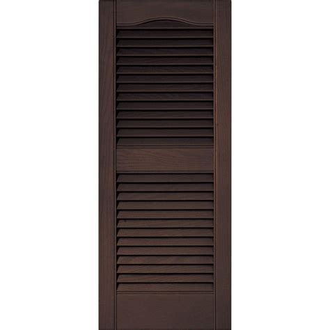 Louvered Doors Exterior Builders Edge 15 In X 36 In Louvered Vinyl Exterior Shutters Pair In 009 Federal Brown
