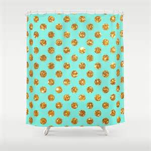 Gold Polka Dot Curtains Chic Gold Glitter Polka Dots Pattern On Turquoise Shower Curtain By Girly Road Society6
