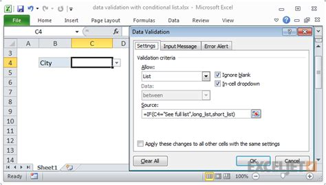 excel data validation list from table excel formula data validation with conditional list
