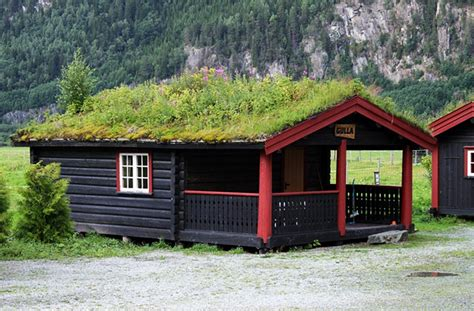 Log Cabin Plan by Beautiful Norwegian Homes Topped With Lush Green Roofs